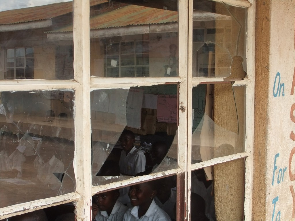 Broken classroom windows